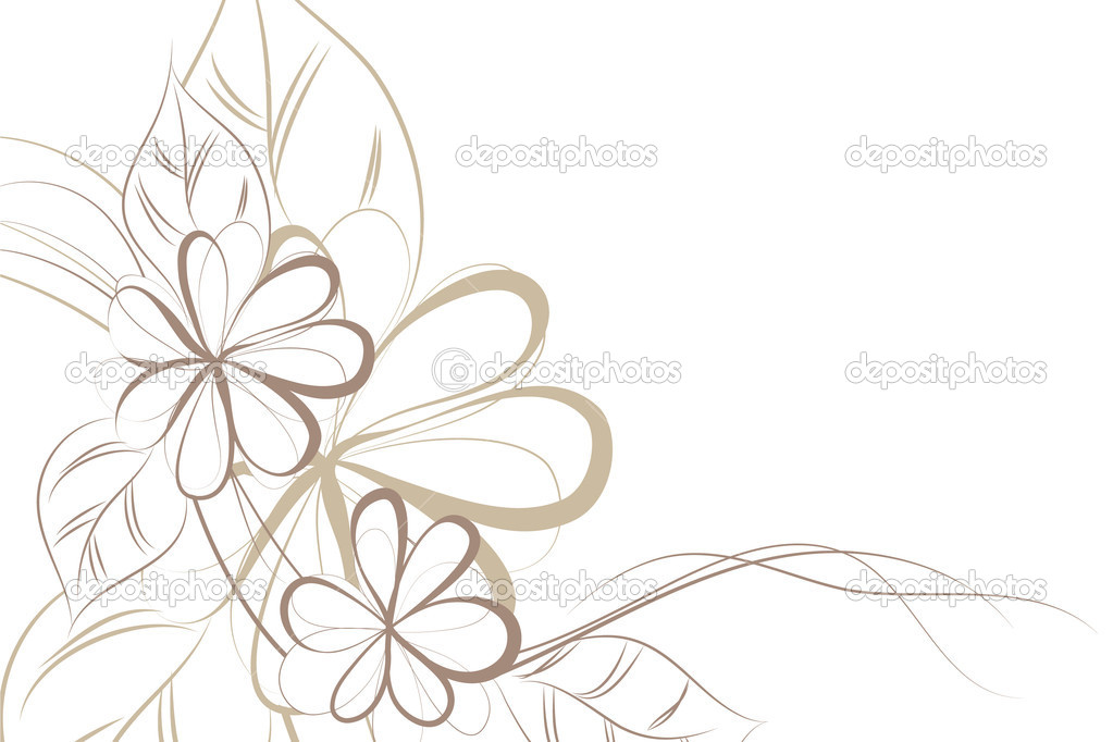 Beautiful Floral Vector Background Brown Flowers on Light Vector by