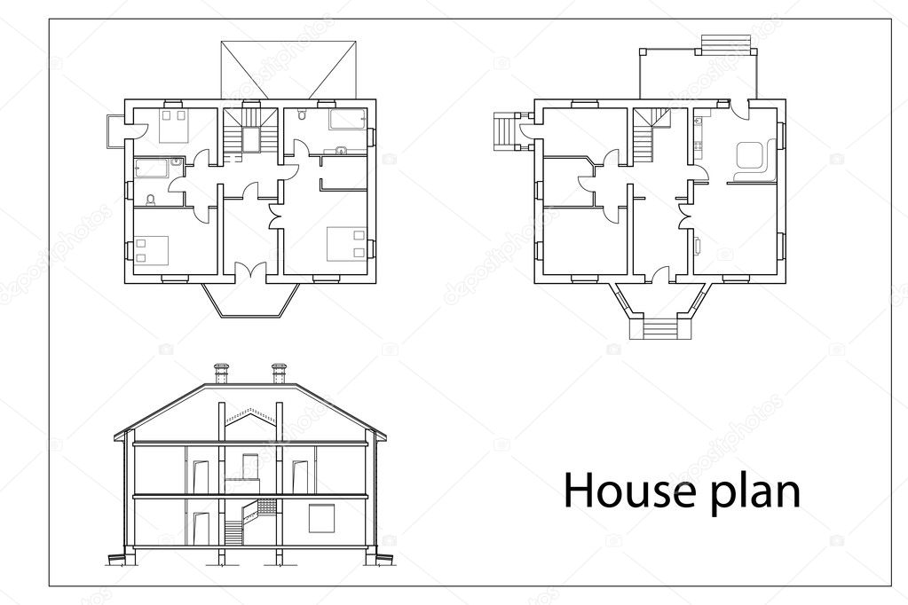 Superb House Plans Stock Vector C Chisnikov 5356052 Largest Home Design Picture Inspirations Pitcheantrous