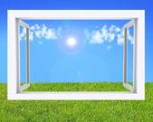 Three dimentional view thru the window — Stock Photo