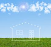 Dream house standing on the grass — Stock Photo