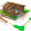 Three dimentional colored wooden timber house — Stock Photo