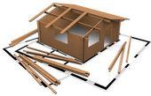 Drie-dimensioneel houten houten woning — Stockfoto