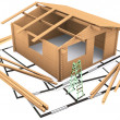 Three dimensional wooden timber house standing on the plan — Stock Photo