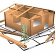 Three dimentional wooden timber house — Stock Photo