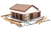 Three dimentional house standing on the plan — Stock Photo