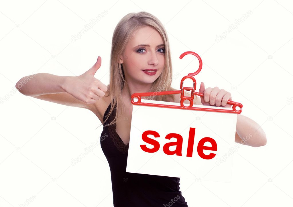 Young woman holding a sale sign, isolated on white — Stock Photo #4804746