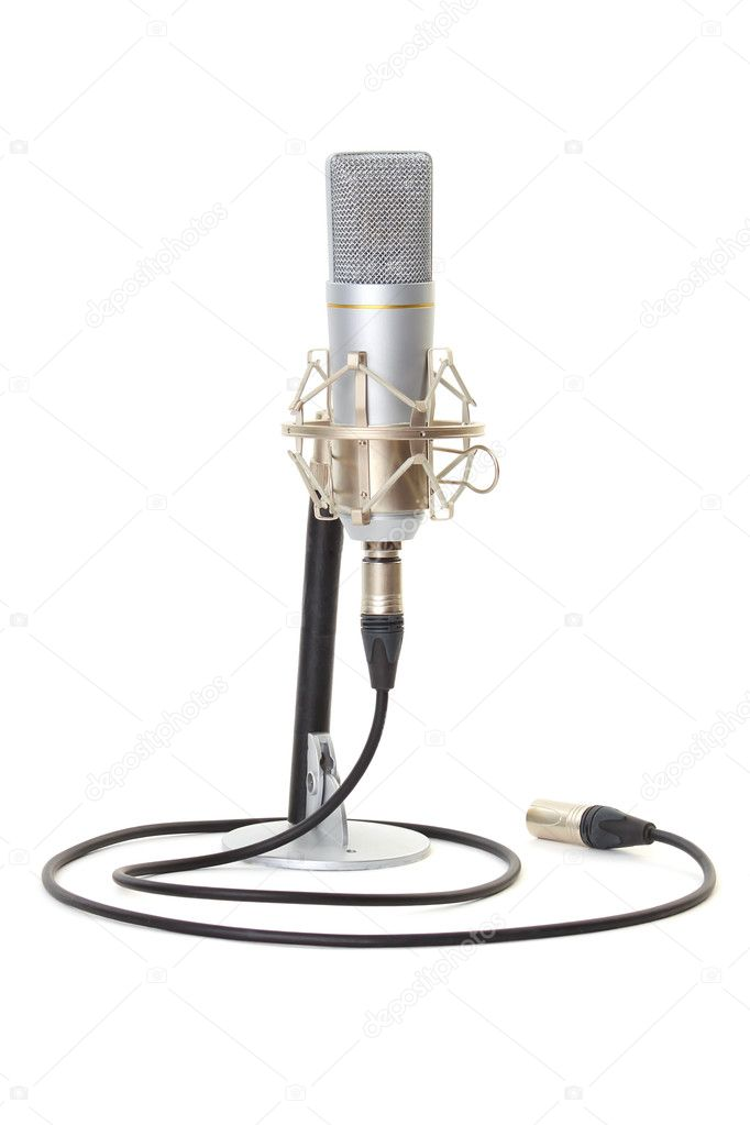 Studio microphone on stand isolated on white background — Stock Photo #3940517
