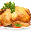 Baked Holiday Turkey with garnish isolated over white - Foto de Stock