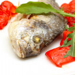 Roasted fish with garnish - Stock Photo