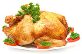 Baked Holiday Turkey with garnish isolated over white — Stock Photo
