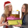 Stock Photo: Beautiful young women with gifts for Christmas and New Year - is