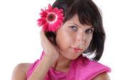 Portrét krásné ženy s květinou — Stock fotografie