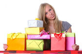 Happy Girl with Gifts — Stock Photo