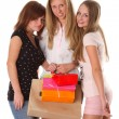 Stock Photo: Young women shopping isolated on white background