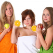Beautiful young women with fruit - healthy eating isolated on wh — Stock Photo