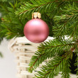 Christmas decoration with New Year ball and fir - Xmas backgroun — Stock Photo