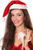 Woman with Christmas or New Year decoration — Stock Photo