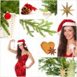 Beautiful christmas collage - green fir, gold star, smiling woma — Stock Photo