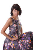 Moda model vintage içinde inci ile elbise — Stok fotoğraf