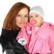 Mother and baby in winter jackets — Stock Photo
