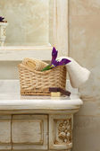 Luxury bathroom interior and furniture — Stock Photo
