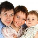 Family lifestyle portrait isolated on white — Stock Photo #4356936