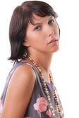 Portrait of a fashion model with pearls — Stockfoto