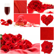 Red love collage with roses flowers, vine glass, silk and heart — Stock Photo