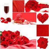 Collage de amor rojo con flores rosas, vidrio de vid, seda y corazón — Foto de Stock