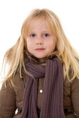 Little blonde girl - child in street clothes — Stock Photo