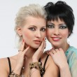 Two young beautiful woman - blonde and brunette — Stock Photo