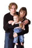 Веселая семья, изолированные на белом: ребенок, мужчина, женщина — Стоковое фото