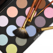 Professional cosmetics and make-up set - brushes and eyeshadow — Stock Photo