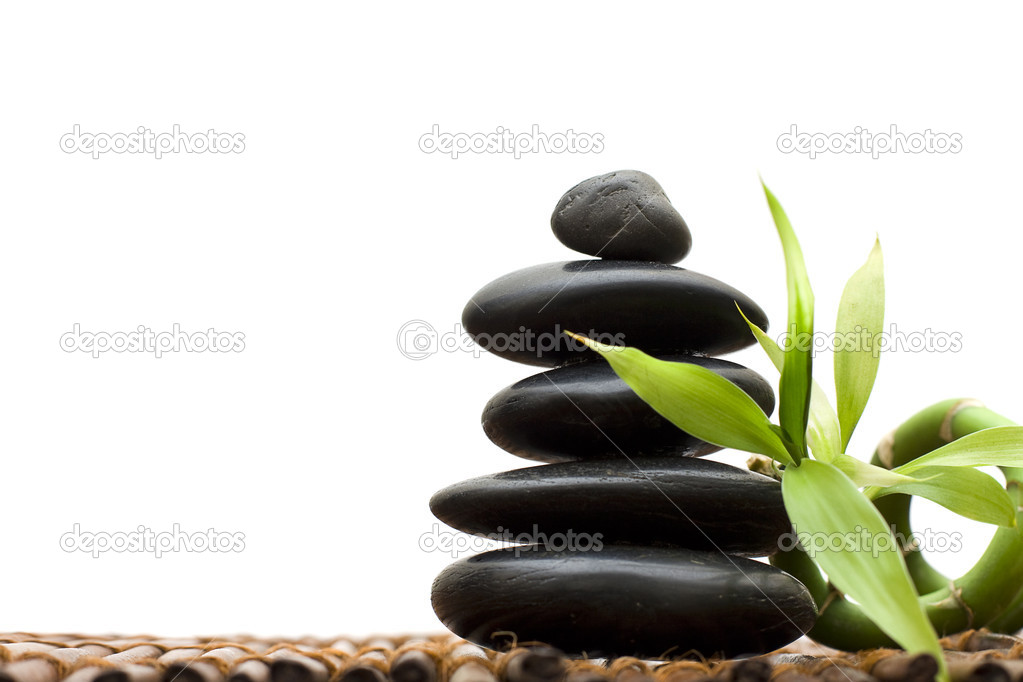 Zen concept with bamboo and stone - alternative medicine and treatment — Stock Photo #4817644