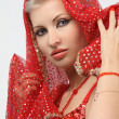 Womwith weary look in eastern arabidress — Stockfoto #4908000