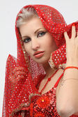 Woman with a weary look in the eastern arabian dress — Stock Photo