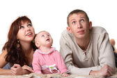 Family - father, mother, child - look up — Stock Photo