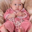 Stock Photo: Cute baby girl in pink dress