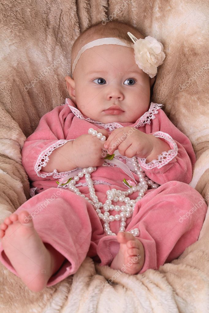 Cute Babies Pink Dress Cute Baby Girl in a Pink Dress