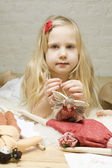 Portrait Little girl with handmade toys — Stok fotoğraf
