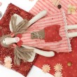 Textile handmade doll and sewing accessory — Stock Photo