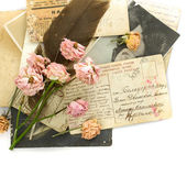 Vintage background - old postcards (1890-1925), photo, flowers — Stock Photo