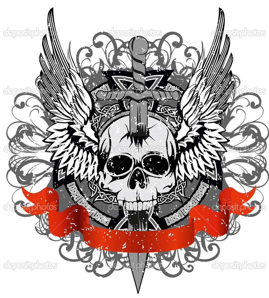 Vector design for T-short skull punched by sword against patterns — Stock Vector #4907893
