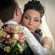 Beautiful bride and groom in indoor setting — Foto de stock #4505433
