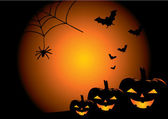 Sfondo vettoriale di halloween con zucche — Vettoriale Stock