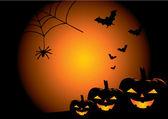 Fond de vecteur de halloween avec des citrouilles — Vecteur