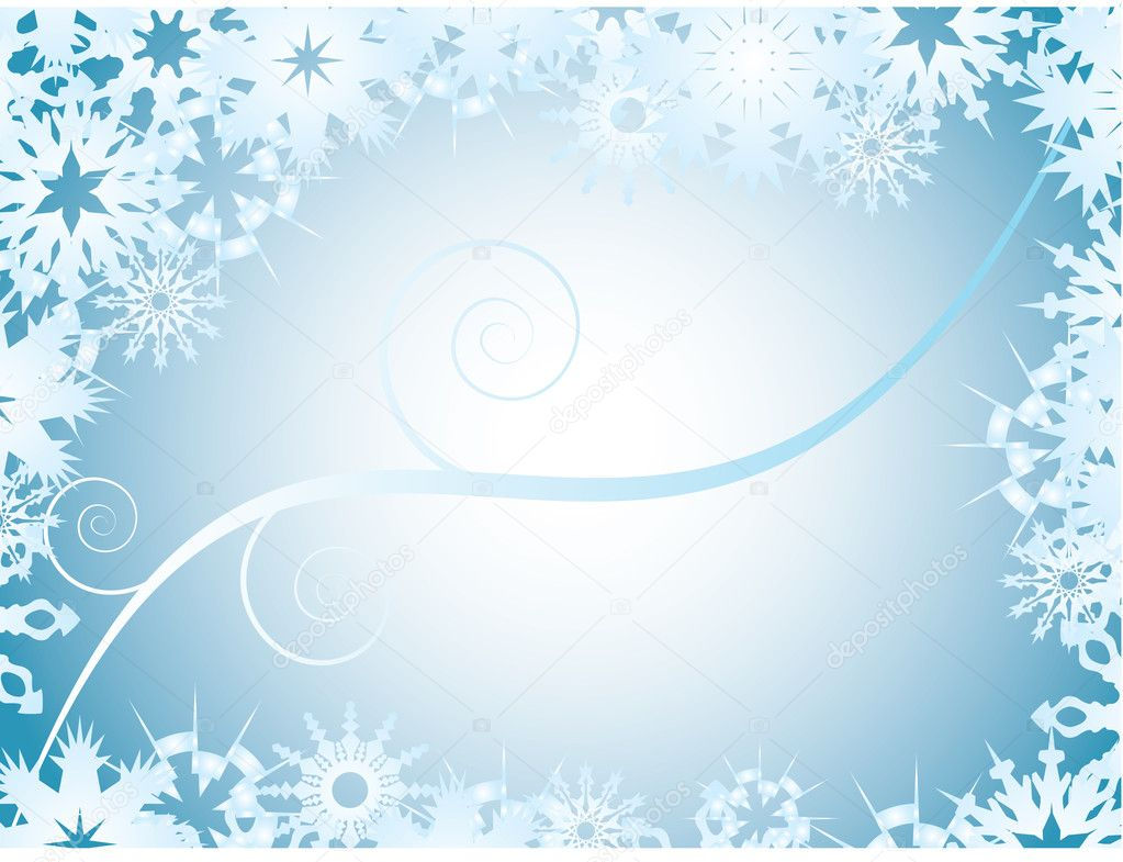 Vector blue  background with snowflake frame — Stock Vector #4024577