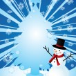 Snowman and christmas tree — Stock Vector #4110142
