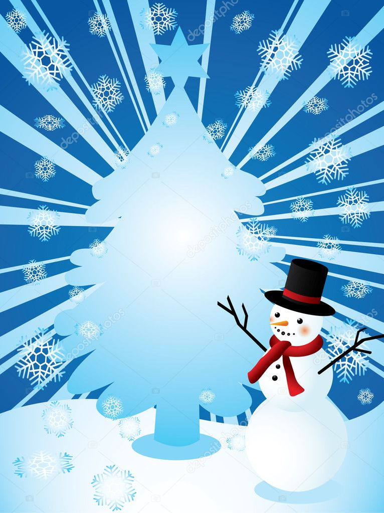 Christmas vector background with snowman and christmas tree  Stock Vector #4110142