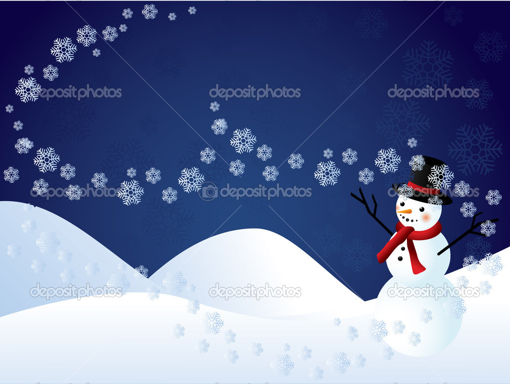 Vector background with snowman and snowflakes — Stock Vector #4110178